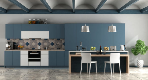 kitchen with blue arched ceiling
