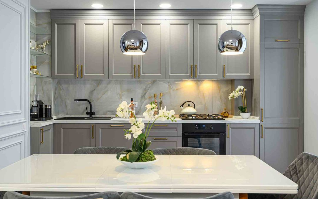 modern kitchen with flowers