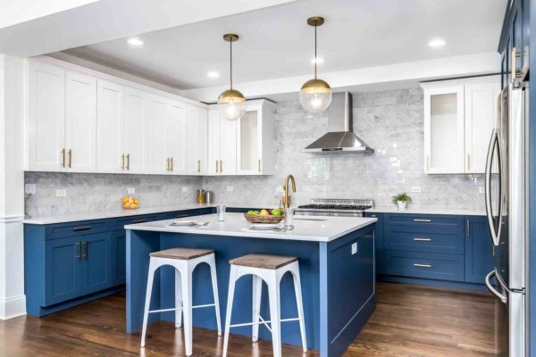 kitchen with blue cabinets and island