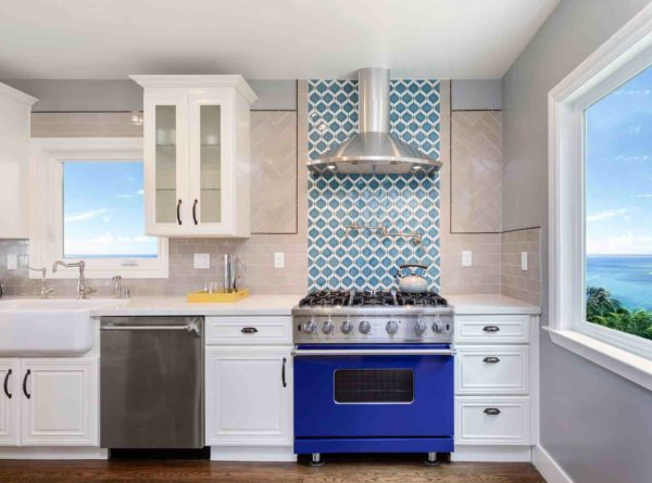 kitchen with blue oven